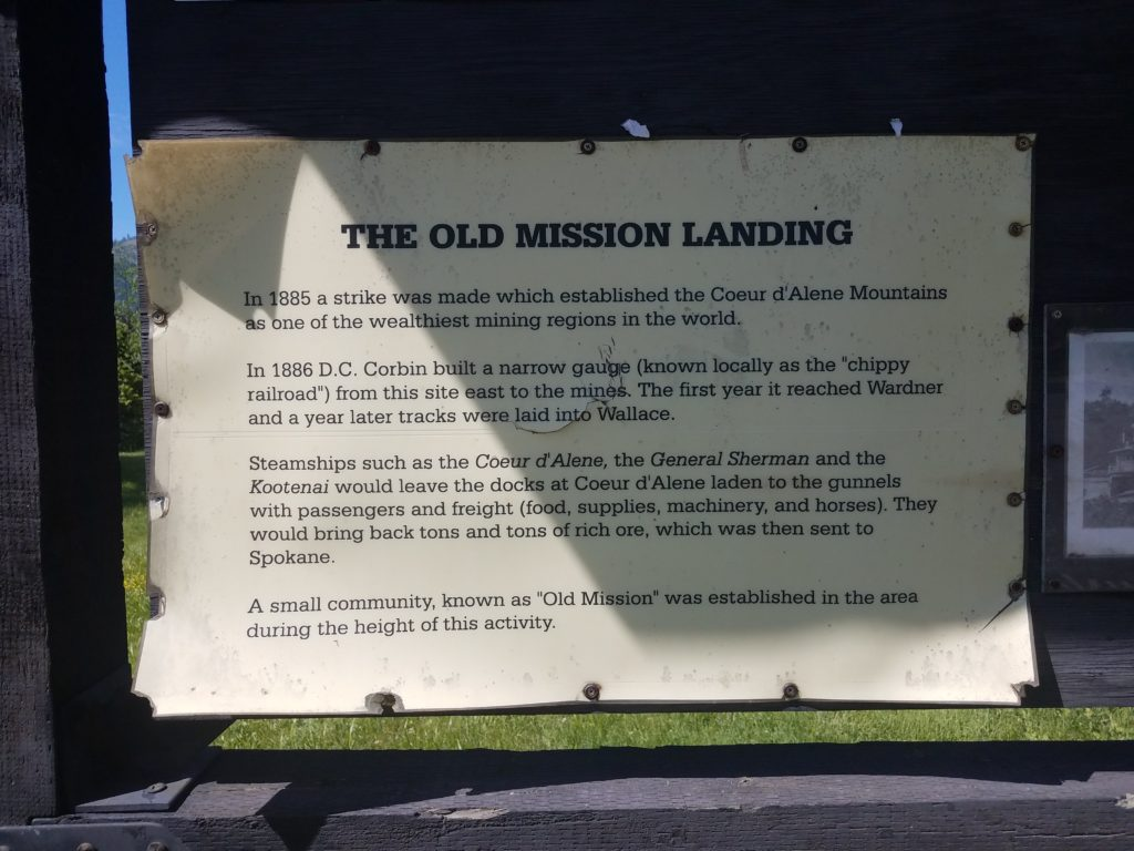An informational sign about the Old Mission river landing.