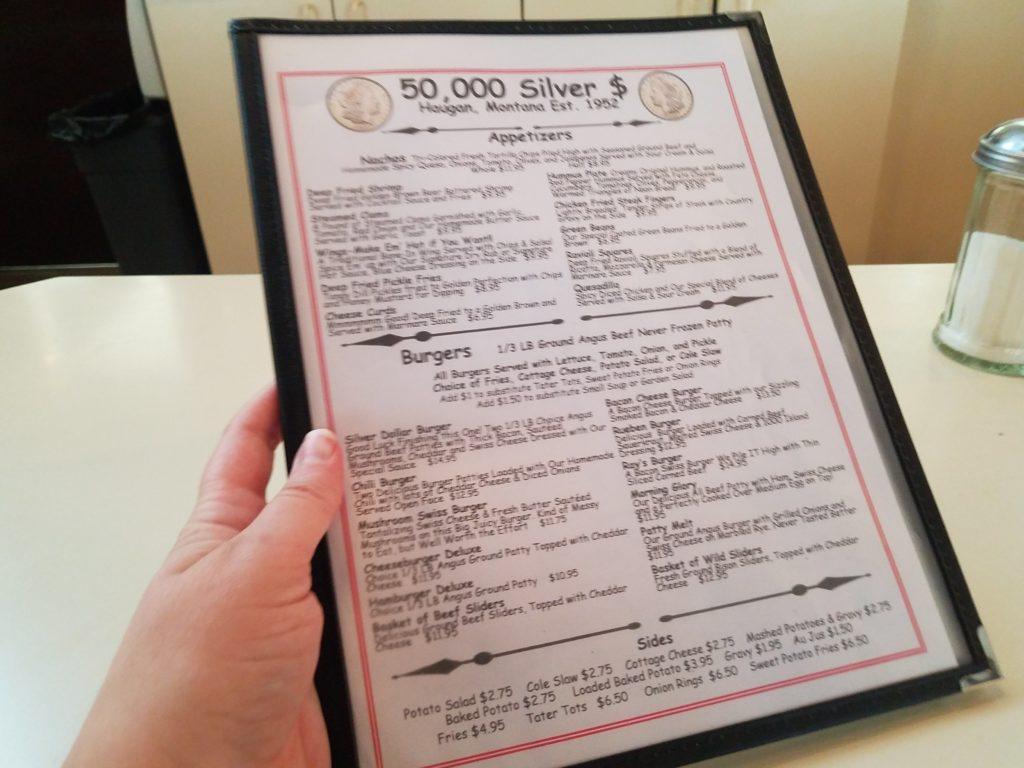 The menu at 50,000 Silver Dollar.