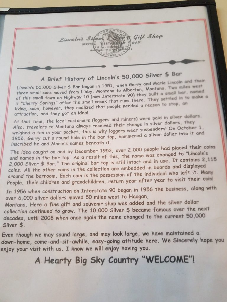 A page of history on the 50,000 Silver Dollar Bar.