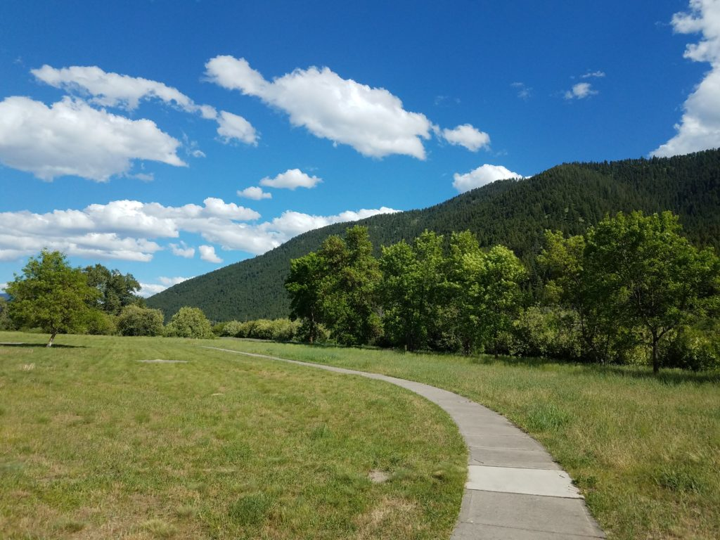 A random Montana parking area. Looks like maybe it used to be a full rest area, given the concrete sidewalks. The sidewalks are surrounded by green grass in front of trees and a mountain ridge.