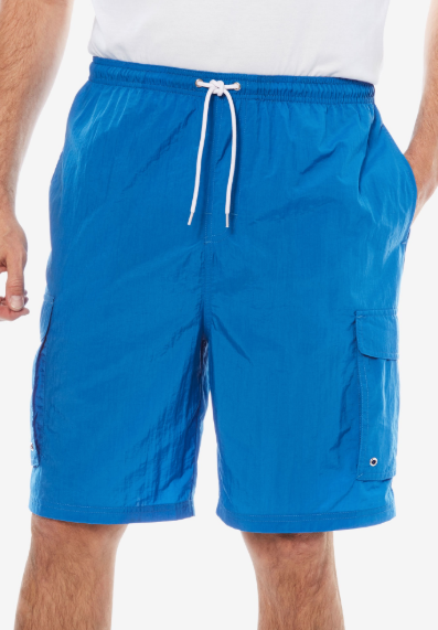Infinite Swim: Where to Find Swimsuits in Sizes 32+  A man with white skin and visible body hair is shown from waist to knees in a white t-shirt and blue swim trunks with a white drawstring.